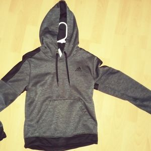 Adidas Small pullover hoodie. Grey and black
